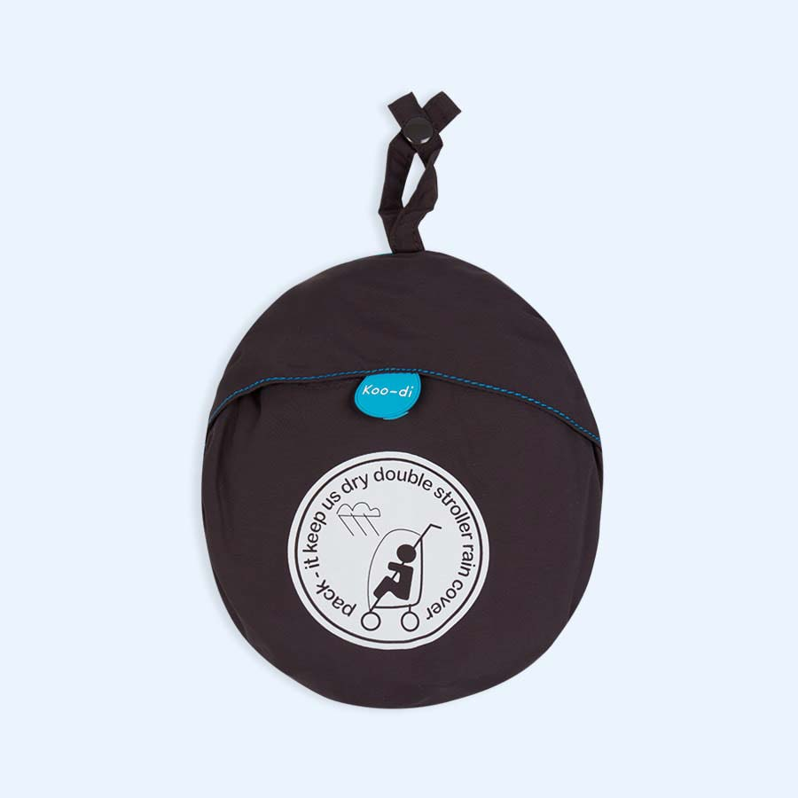 Black Koo-di Pack-It Double Stroller Raincover