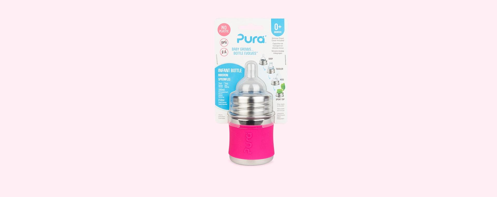 Pink Pura 5oz Infant Bottle