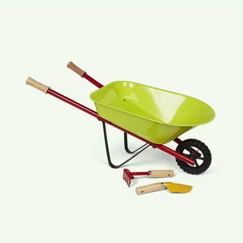 Green Janod Kids Metal Wheelbarrow