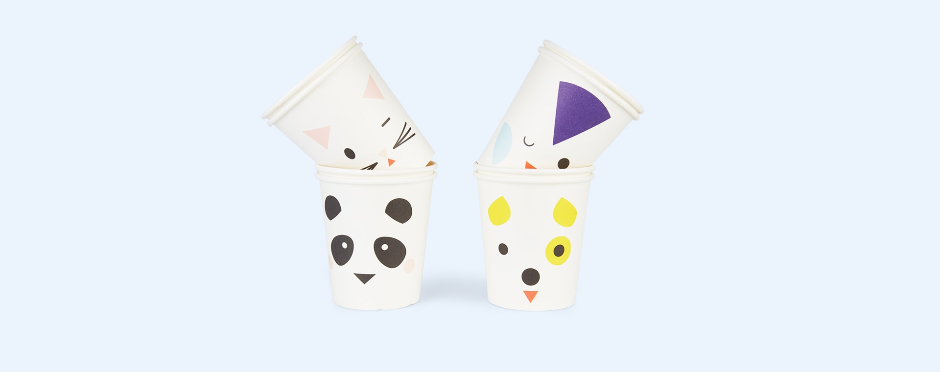 White My Little Day Mini Animals Paper Cups - 8 Pack