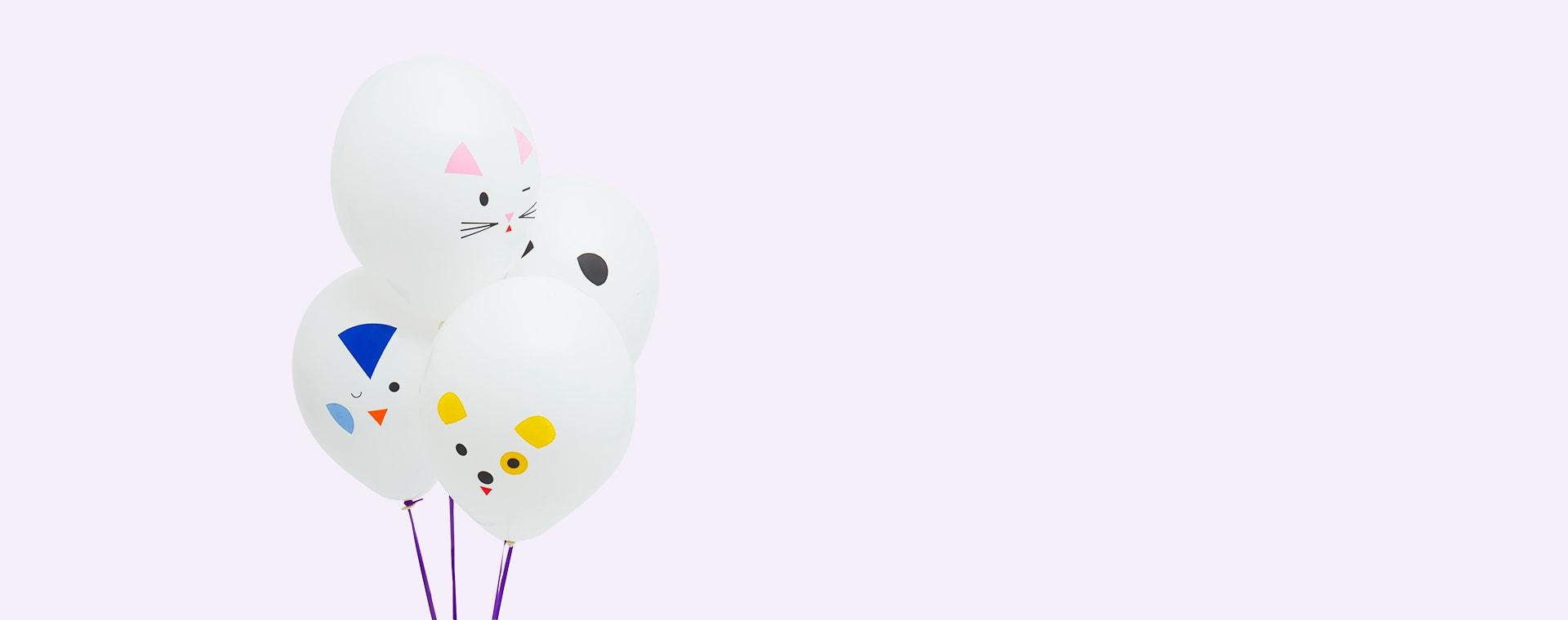 White My Little Day Mini Animals Tattooed Balloons