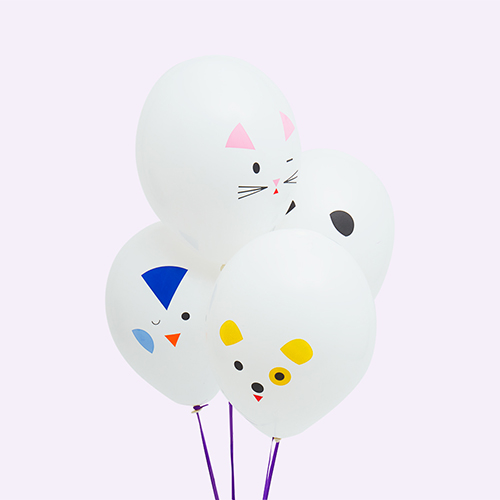 White My Little Day Mini Animals Tattooed Balloons