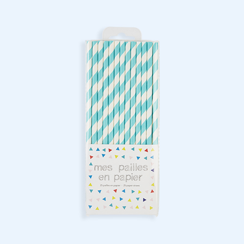 Turquoise My Little Day Striped Paper Straws