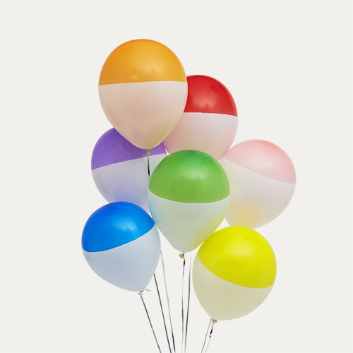 Multi Bubblegum Balloons Rainbow Dipped Balloon Bunch - 14 Pack