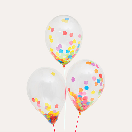 Multi Bubblegum Balloons Confetti Balloon Bunch