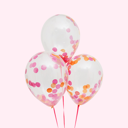 Pink Bubblegum Balloons Confetti Balloon Bunch