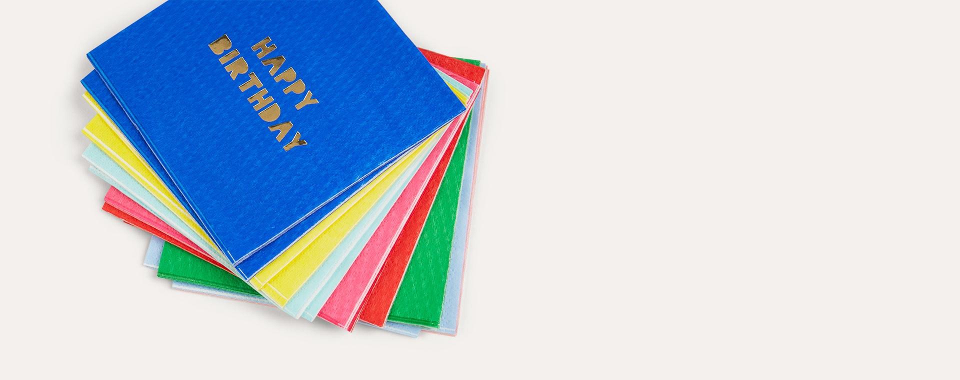 Multi Meri Meri Small Happy Birthday Paper Napkins - 16 Pack