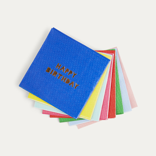 Multi Meri Meri Small Happy Birthday Paper Napkins - 16 Pack