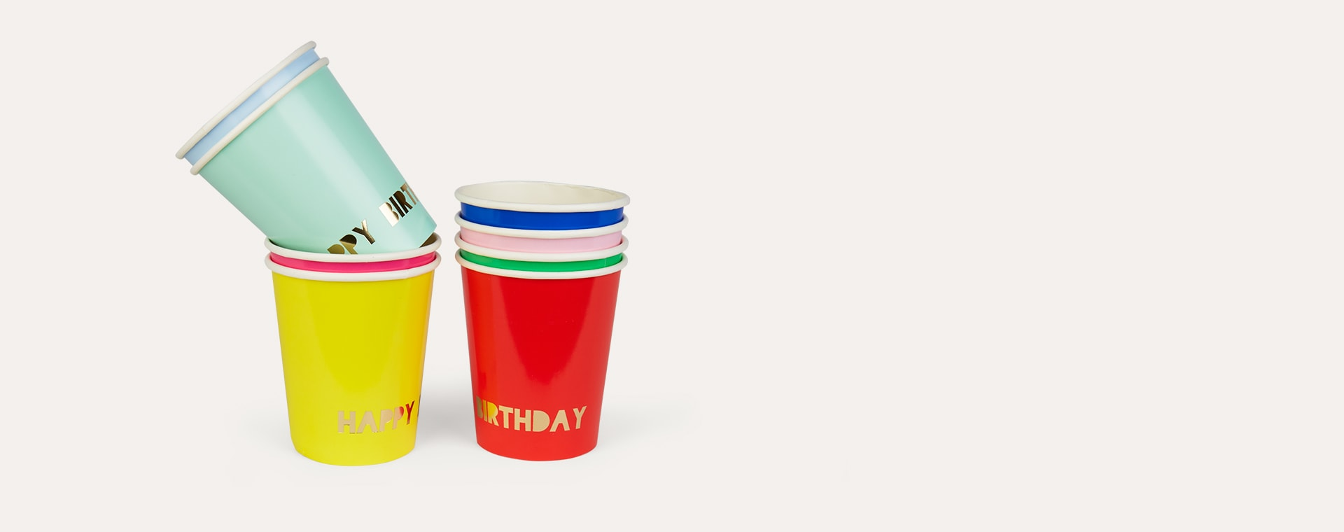 Multi Meri Meri Happy Birthday Paper Cups - 8 Pack