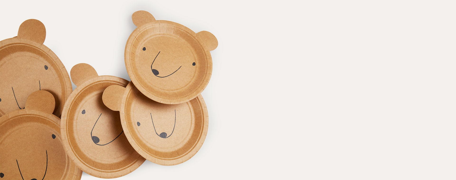 Neutral Meri Meri Small Bear Plates - 12 Pack