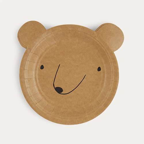 Neutral Meri Meri Small Bear Plates - 12 Pack
