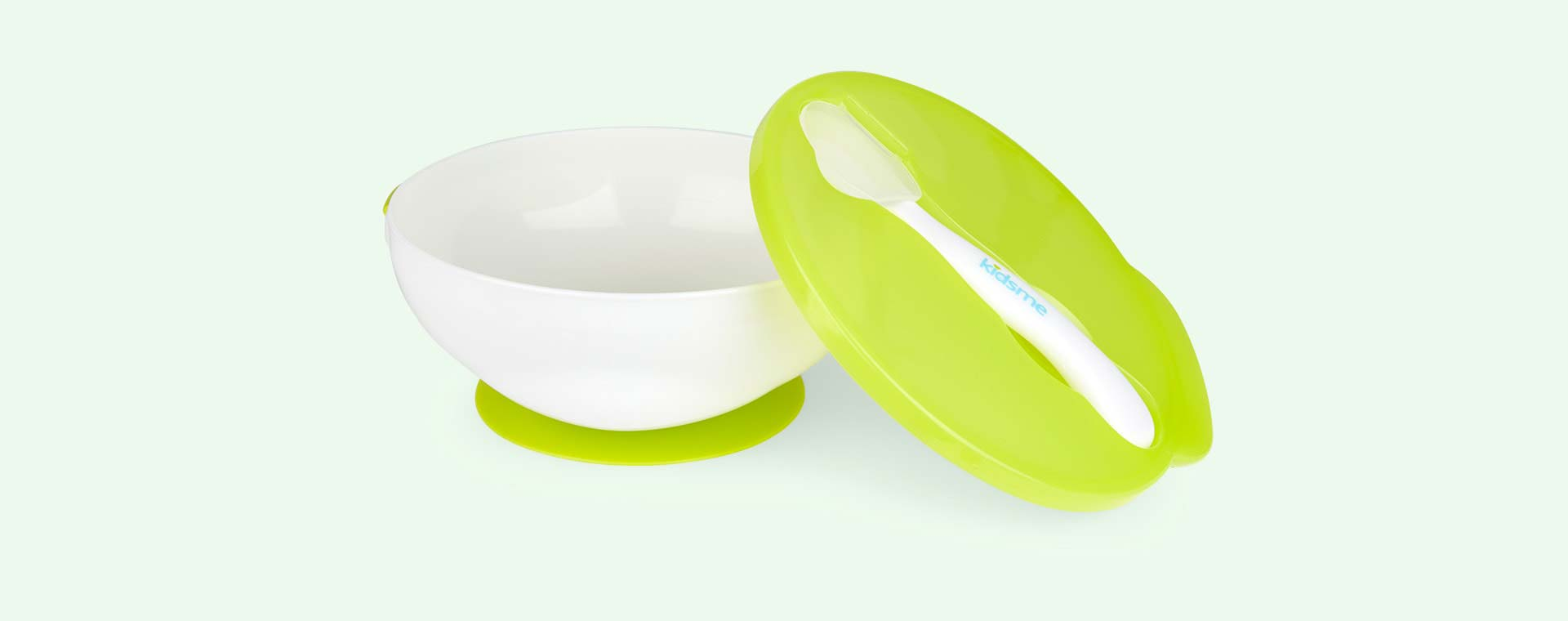 Lime kidsme Suction Bowl & Spoon Set