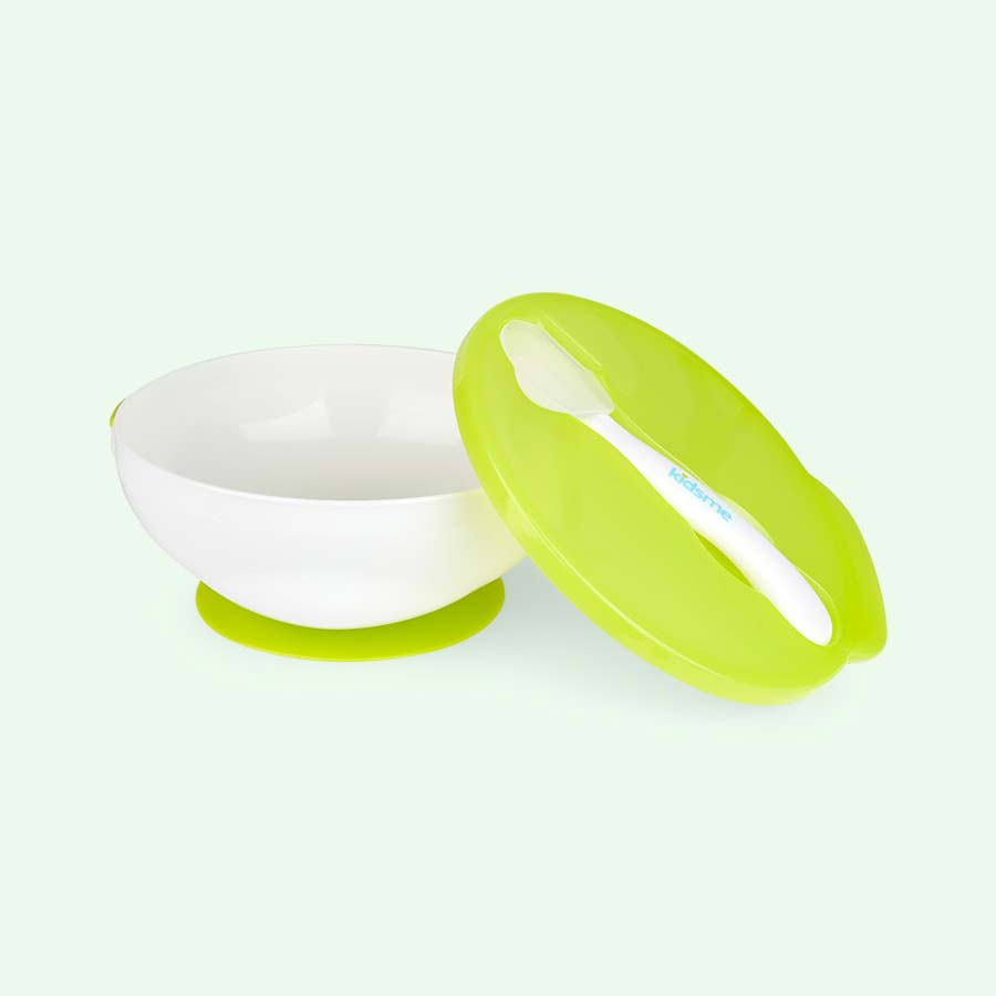 Lime kidsme Suction Bowl & Spoon Set
