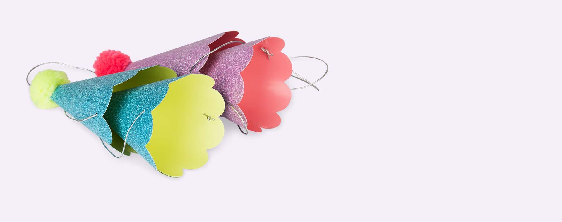 Multi Meri Meri Party Hats with Pom Poms - 8 Pack