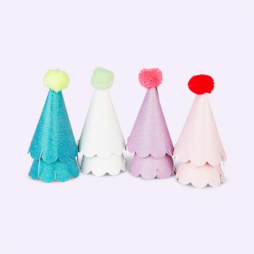Multi Meri Meri Party Hats with Pom Poms - 8 Pack