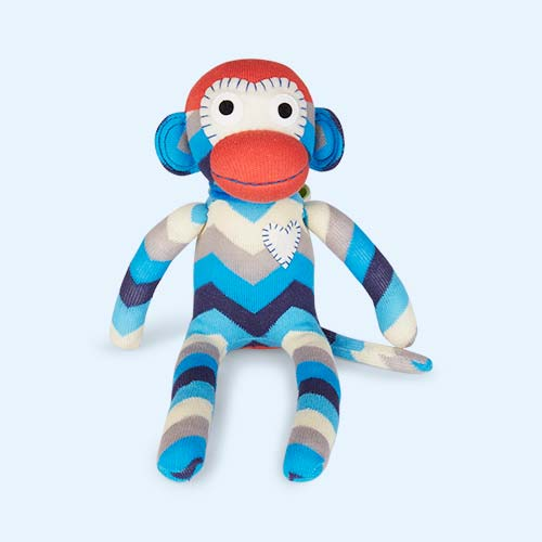 Blue Soft Sox Casper Chevron Monkey