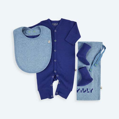 Blue KIDLY's Own New Baby All-In-One Set