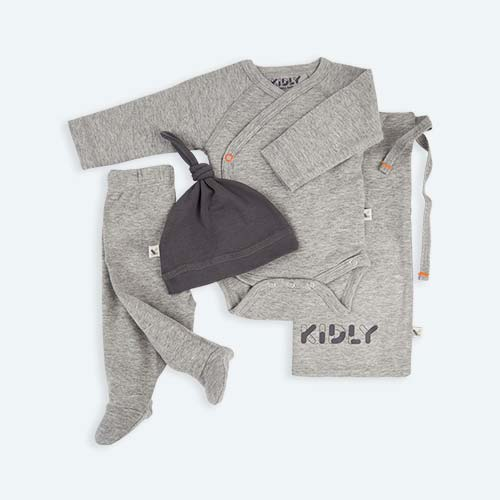 Grey KIDLY's Own New Baby Outfit Set