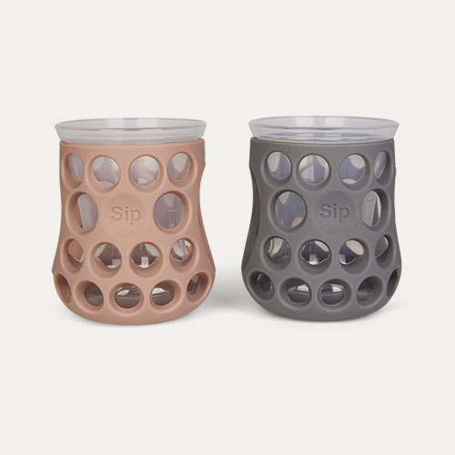 Slate Grey/Blush Pink Cognikids Natural Drinking Cups - 2 Pack