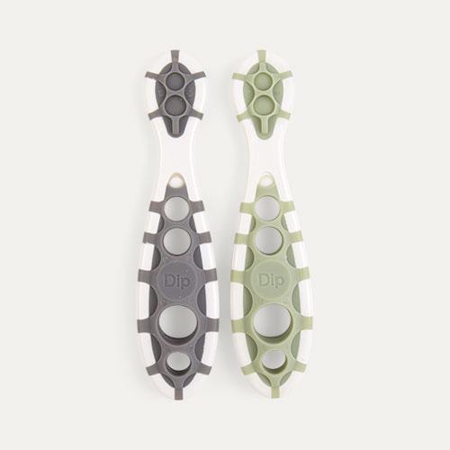 Slate Grey/Sage Green Cognikids Weaning Dip-Spoon - 2 Pack