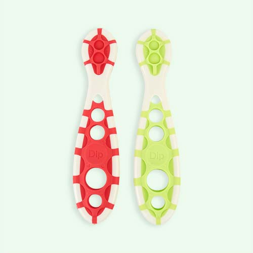 Red/Green Cognikids Weaning Dip-Spoon - 2 Pack