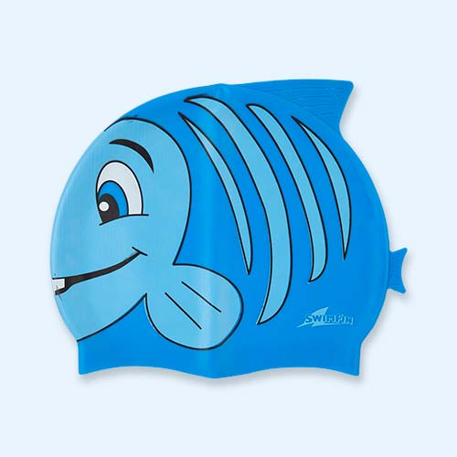 Blue SwimFin Novelty Swimming Cap