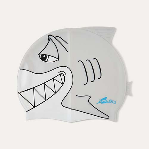 Grey SwimFin Novelty Swimming Cap