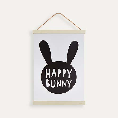 White Mini Learners Happy Bunny Poster