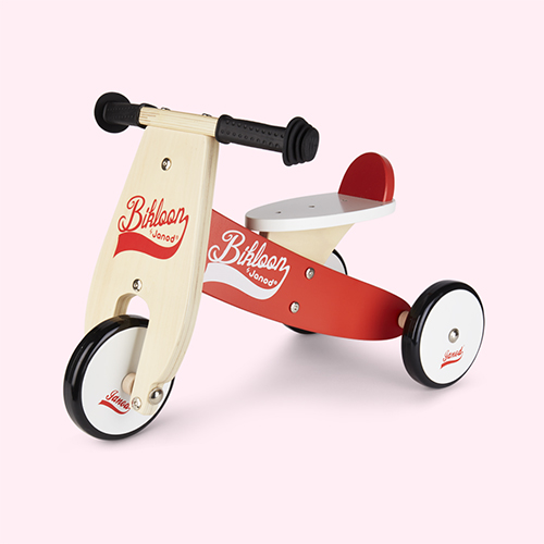 Red White Janod Little Bikloon Ride-On Tricycle