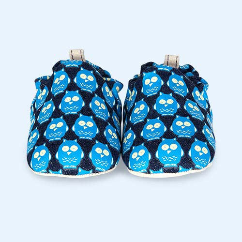 Denim Owls Poco Nido Printed Mini Shoes