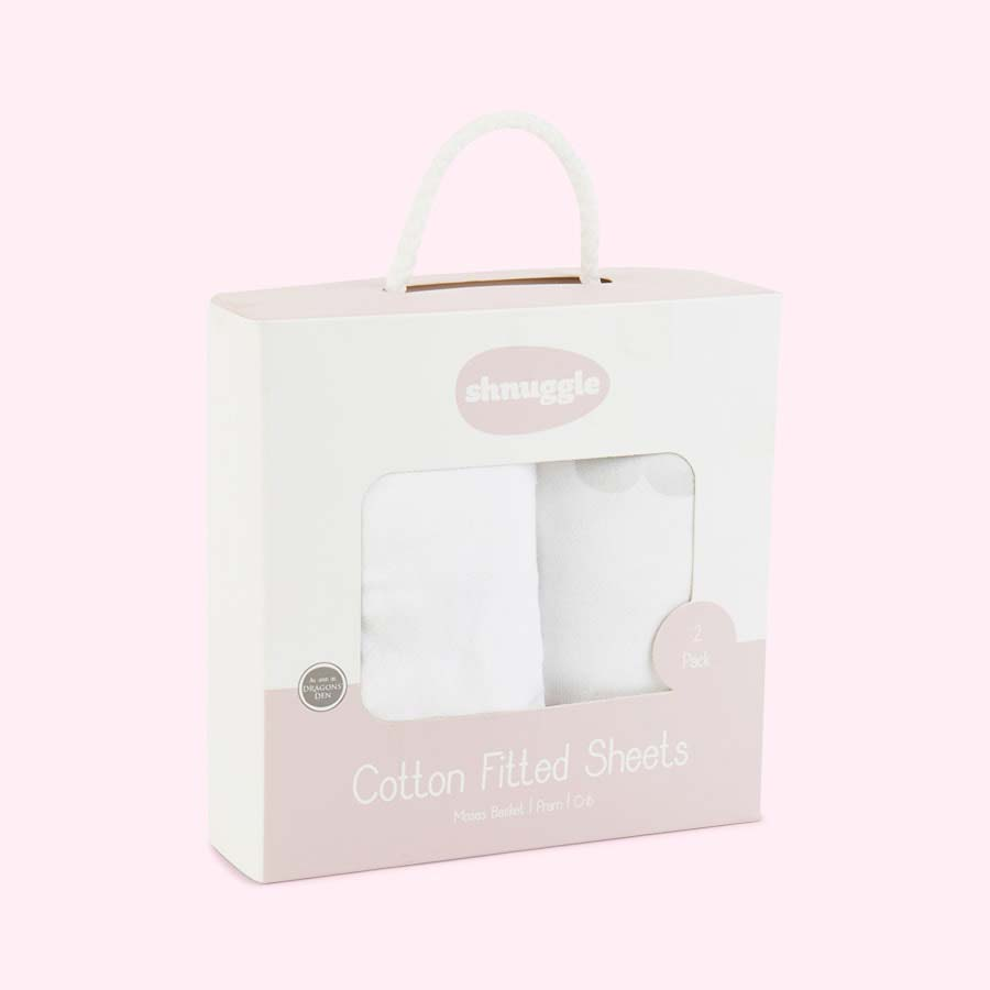 Cloud Shnuggle Moses Basket Fitted Sheets - 2 Pack