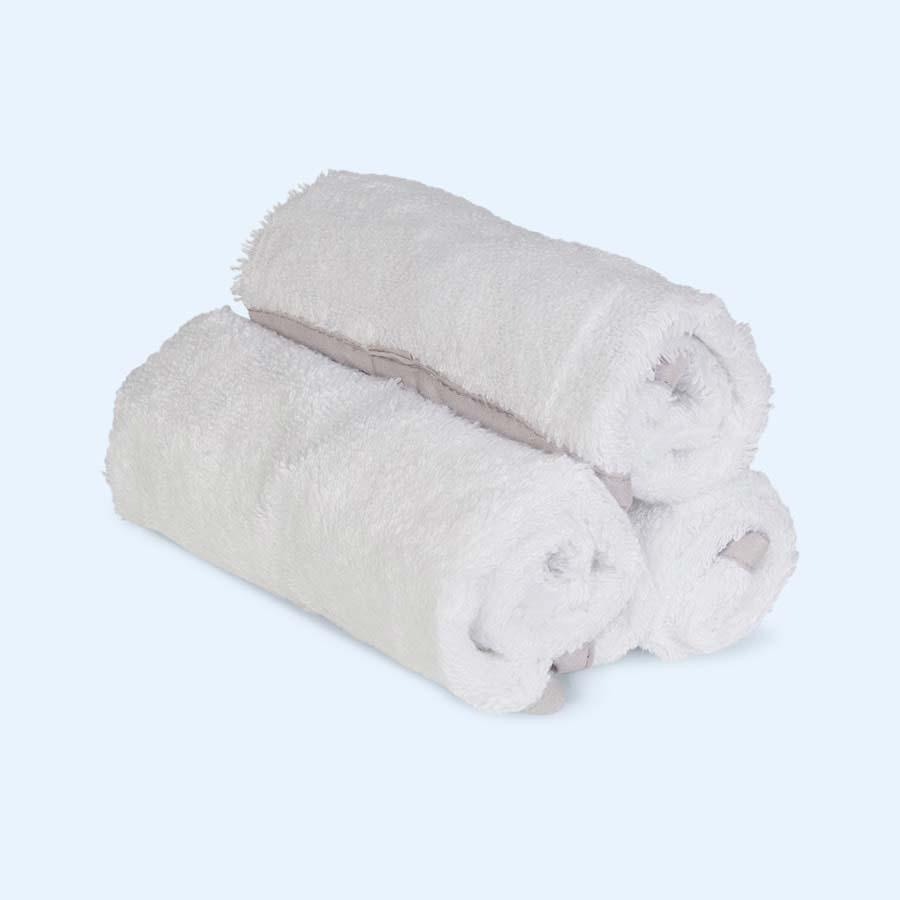 White Shnuggle Baby Wash Cloths - 3 Pack