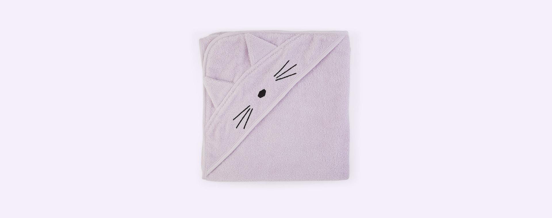 Cat Light Lavender Liewood Augusta Hooded Towel