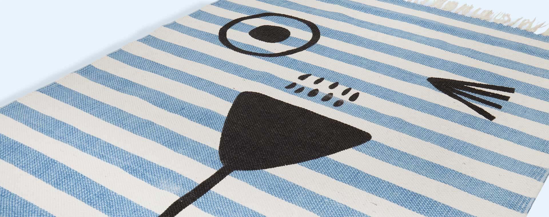 Blue White Stripe Minene Kids' Rug