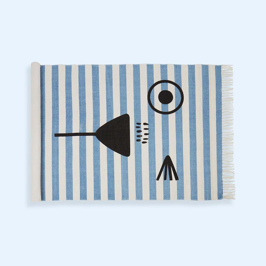 Blue White Stripe Minene Kids' Rug