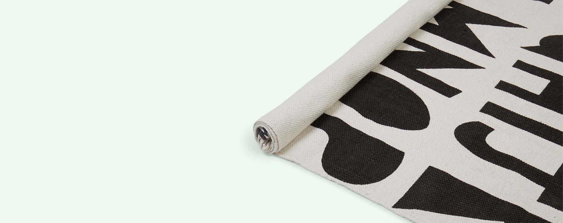 White Black Letters Minene Kids' Rug
