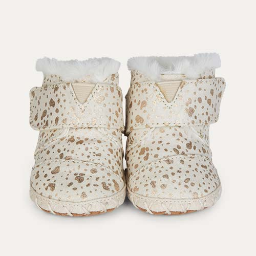 Gold Foil Snow Spots TOMS Cuna Layette Boot