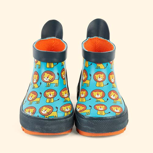 Teal Green Orange Poco Nido Happy Lion Wellies