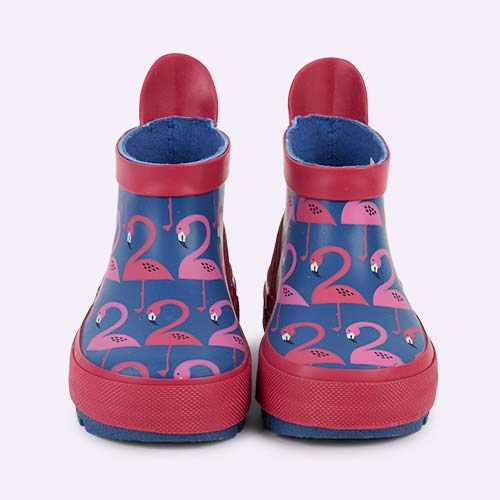 Pink Blue Poco Nido Flamingos Wellies