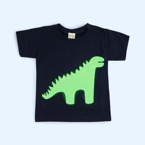 Dino Navy Little Mashers Tee Light - Glow in the Dark T-Shirt