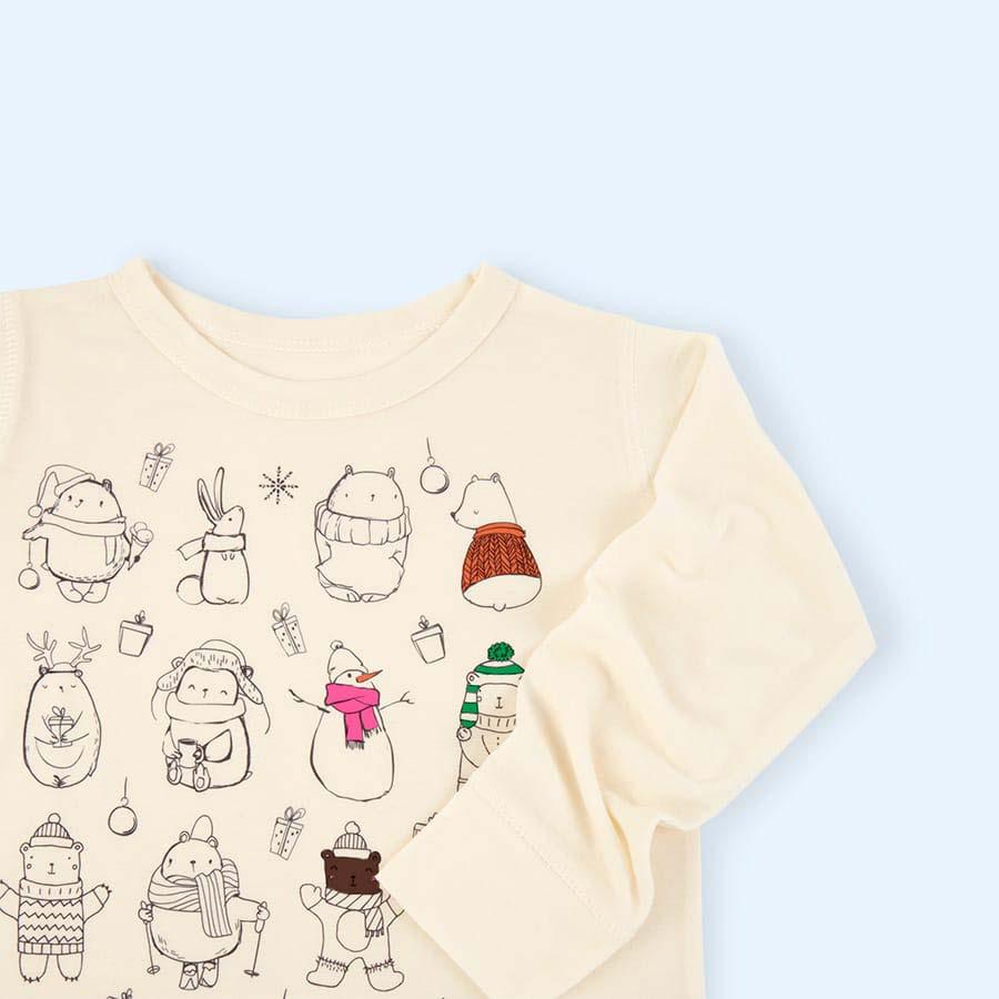 Cutesy Christmas Selfie Clothing Co Colour-In Pyjamas 3-4 years