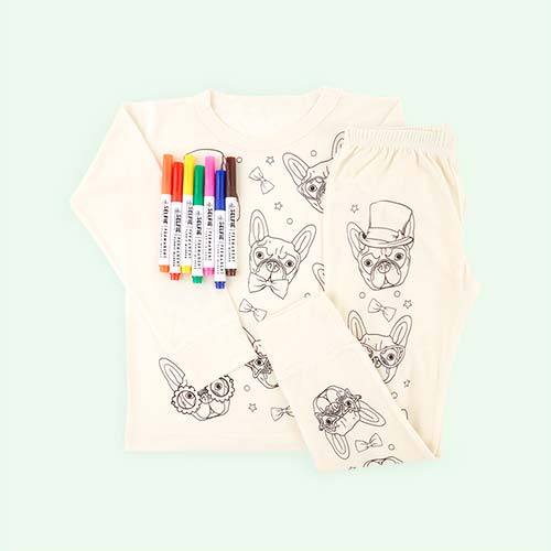 Frenchie Selfie Clothing Co Colour-In Pyjamas 3-4 years