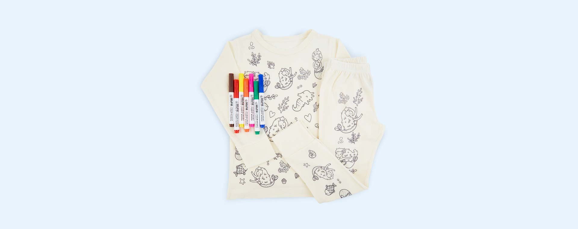 Mermaid Selfie Craft Co Colour-In Pyjamas