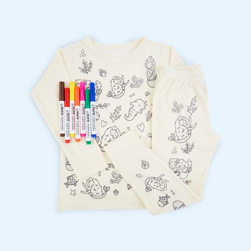 Mermaid Selfie Clothing Co Colour-In Pyjamas 3-4 years