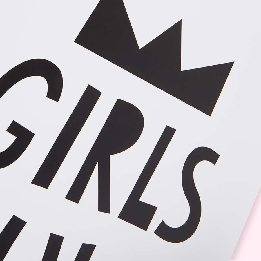 White Mini Learners Girls Rule Poster