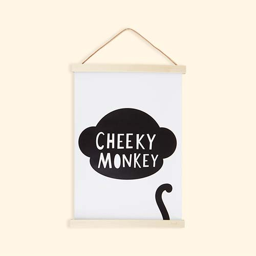 White Mini Learners Cheeky Monkey Poster