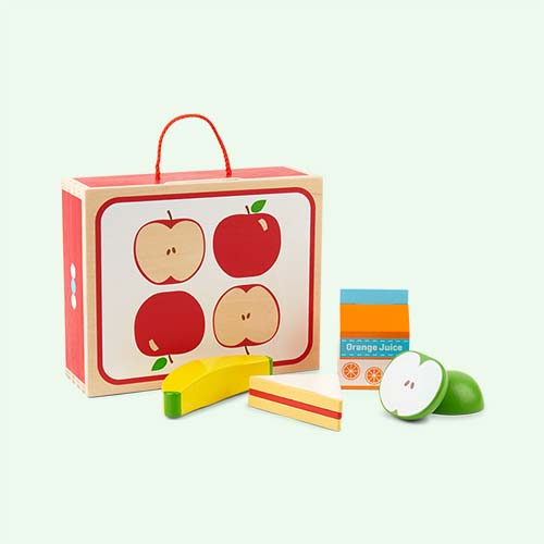 Red Bigjigs Packed Lunch Wooden Playset