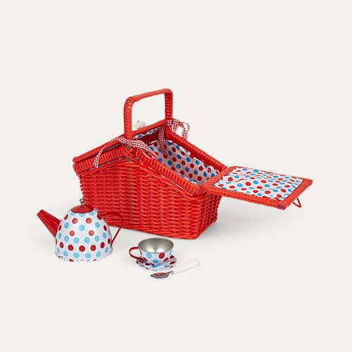 Red Bigjigs Tin Tea Set Basket