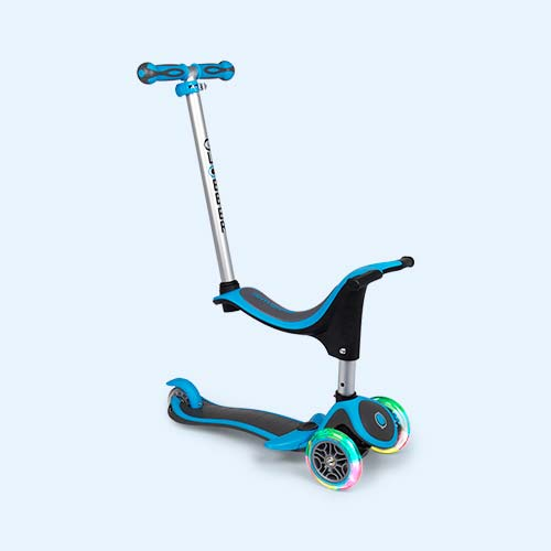 Neon Blue Globber My Free 4-in-1 Scooter Plus Light