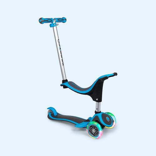 Neon Blue Globber Evo 4-in-1 Scooter Plus Light